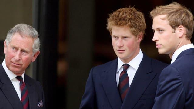 Gruppenfoto Prinz Charles, Prinz Harry und Prinz William.