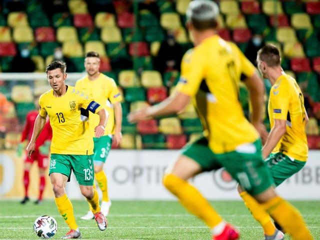 Die Spieler der litauischen Nationalmannschaft, hier in der Nations League im vergangenen Herbst.