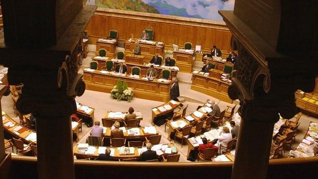Blick von der Zuschauertribüne auf in den Nationalratssaal