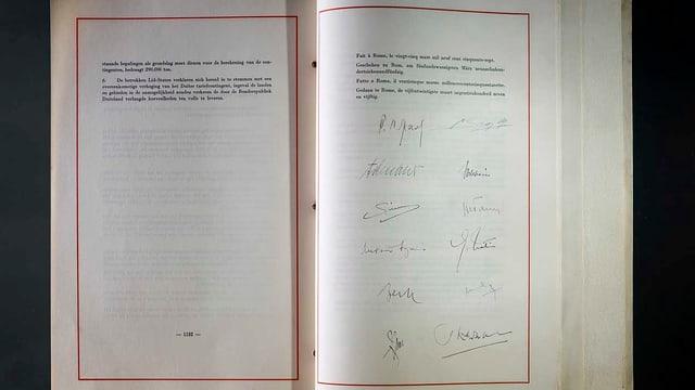 Aufnahme des Römervertrags. Darauf sind Unterschriften erkennbar.