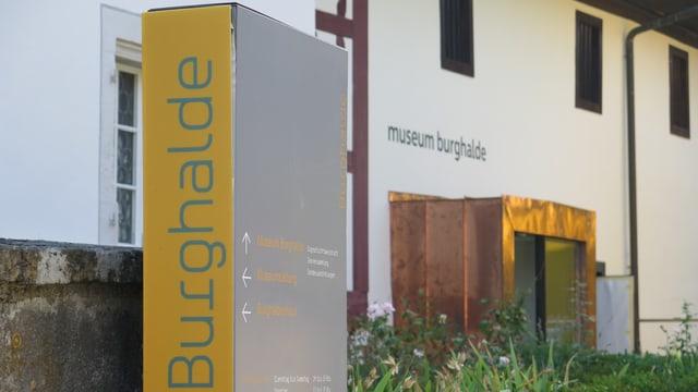 Das Logo vom Museum ist zu sehen vor dem Museumseingang.