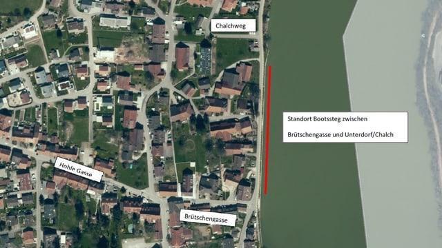 Luftansicht von Wallbach mit dem Standort des Bootsstegs.