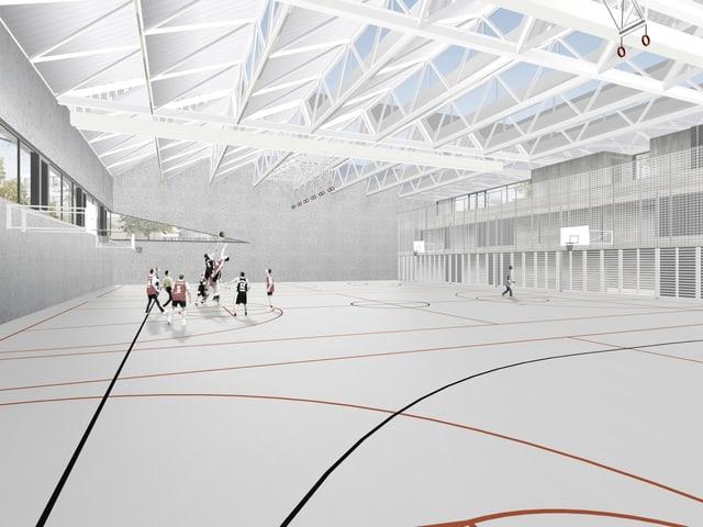 Innenansicht Visualisierung Turnhalle - grosse Spielfläche, Dach mit offener Metallkonstruktion