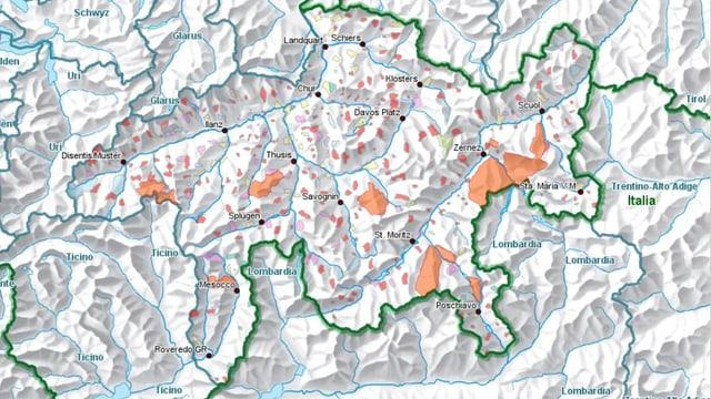 Ina charta dal Grischun cun las zonas correspundentas.