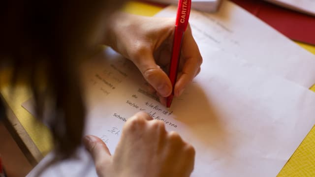 Ina persuna che scriva insatge sin il palpiri.