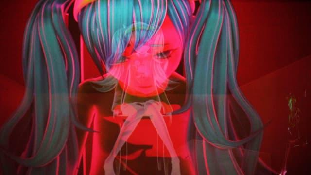 Zeichnung eines Mädchens mit türkisem Haar, dass den Kopf gesenkt hält.