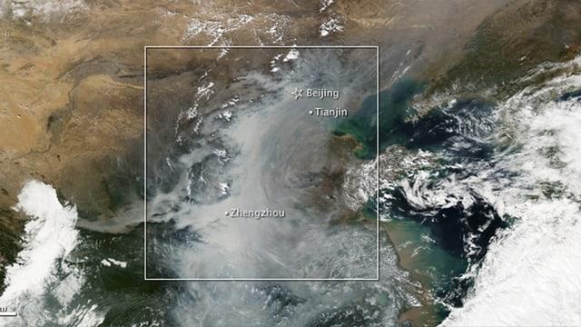 Satellitenbild der Smog-Ausbreitung über China.