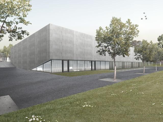 Visualisierung Neubau Dreifachturnhalle Margeläcker, von Süden her (Betonbau mit Fensterfront)