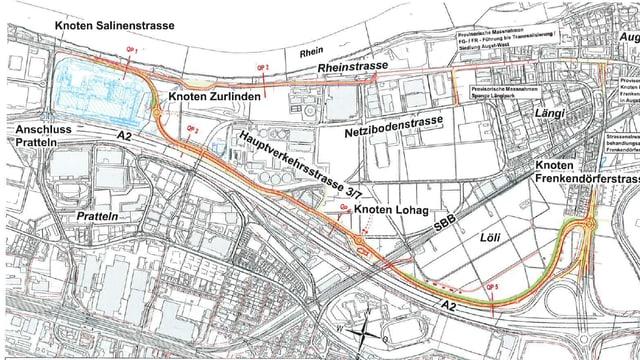 Karte mit Bauplan