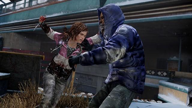 Ellie attakiert einen Mand mit einem Messer.