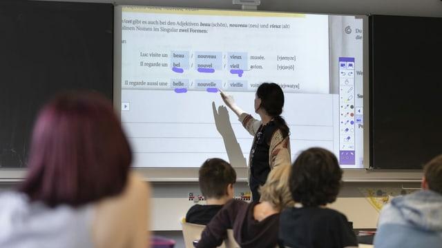Schüler arbeiten an einer digitalen Leinwand