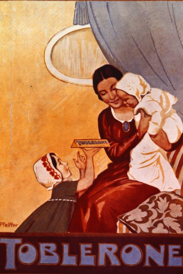 Ein Werbeplakat für Toblerone-Schokolade um 1900