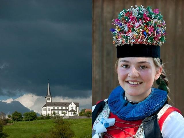 Zwei Bilder: Eine Kirche und ein Mädchen in einer Tracht.