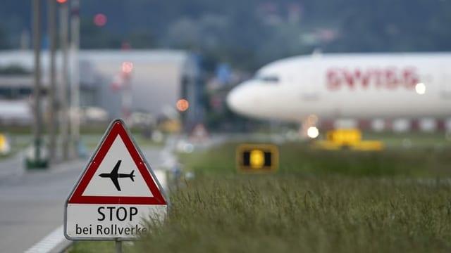 Flugzeug der Swiss in Kloten.