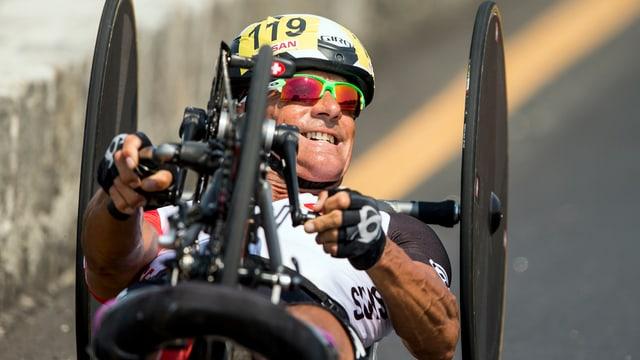 Heinz Frei beim Handbike-Wettkampf an den Paralympics