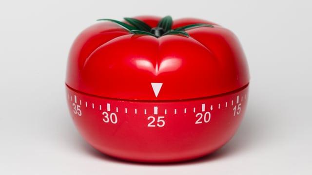 Ein Wecker in Tomatenform