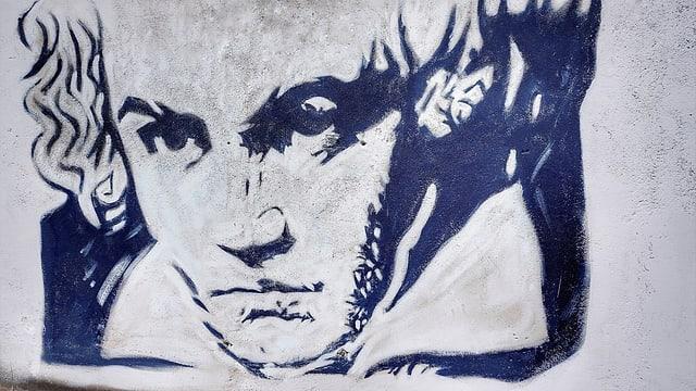 Gemälde von Ludwig van Beethoven an einer Wand.