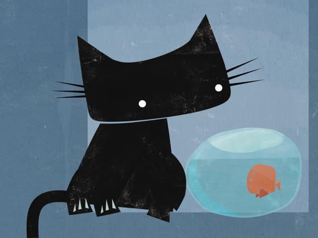 Eine schwarze Katze sitzt neben einem Glas, in welchem ein Goldfisch schwimmt.