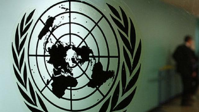 Il logo nair da l'ONU che mussa il mund