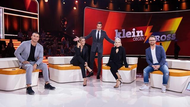 von links Wladimir Klitschko, Michelle Hunziker, Moderator Kai Pflaume, Ina Müller, Ralf Schmitz