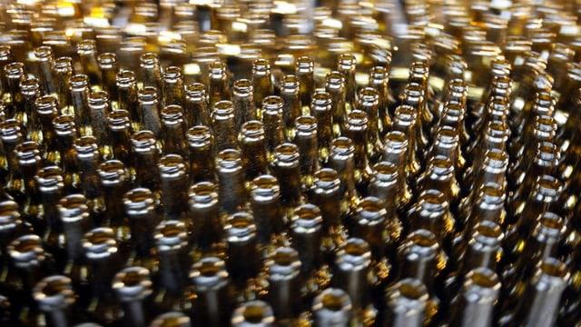 Flaschen auf Fliessband.