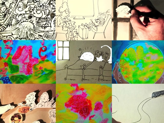Bildcollage aus verschiedenen Zeichnungen von Nicolas d'Aujourd'Hui