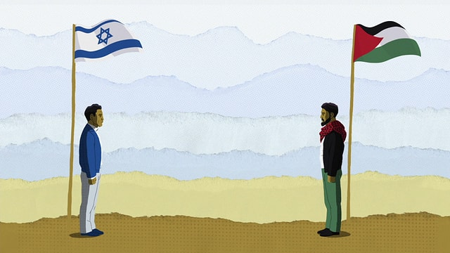 Zeichentricksequenz: Ein Palästinenser steht gegenüber einem Israeli.