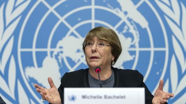 Michelle Bachelet am UNO-Hauptsitz in Genf.