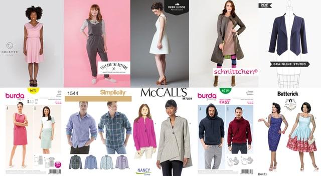 Die obere Reihe zeigt fertige Kleider von Schnittmusterfirmen, die untere Reihe zeigt Schnittmuster, wie sie im Laden gekauft werden können.
