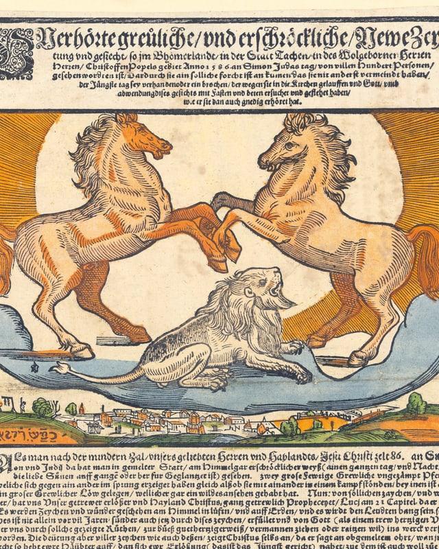 Illustration auf einem alten Flugblatt: Drei Löwen im Himmel.