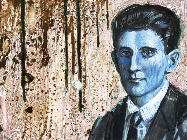 Franz Kafka in Öl, gemalt mit blauem Gesicht. Und fast scheint es, als weinte die Leinwand braune Tränen.
