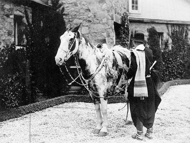 Die Archivaufnahme zeigt Aimé Félix Tschiffely, der neben seinem Pferd Mancha steht, mit dem Rücken zur Kamera.