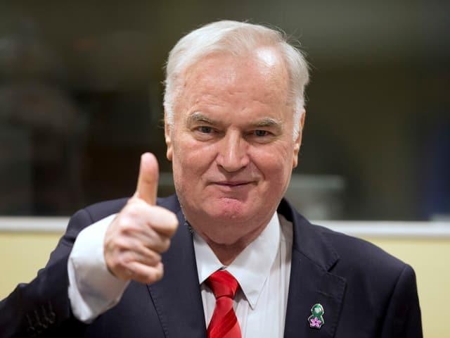 Zu sehen ist Ratko Mladic im Gerichtssaal am Tag, an dem das Urteil gegen ihn gefällt worden ist.