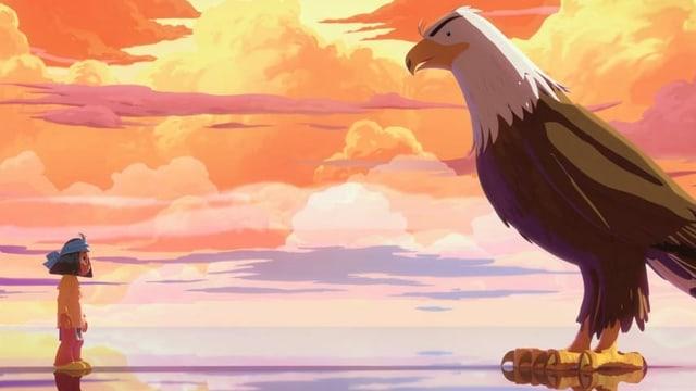 ein kleiner Junge steht einem grossen Adler gegenüber
