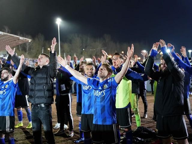 Der 1. FC Saarbrücken nach dem Sieg im Viertelfinal gegen Fortuna Düsseldorf.