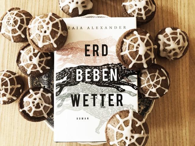 Der Roman «Erdbebenwetter» ist mit Spinnennetz-Muffins garniert.