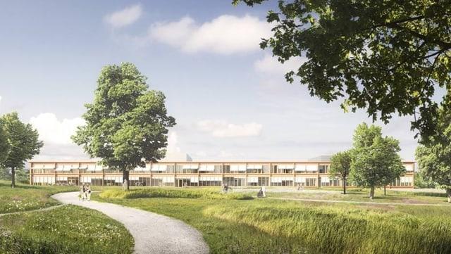 Visualisierung des flachen Spitalgebäudes in Wolhusen.