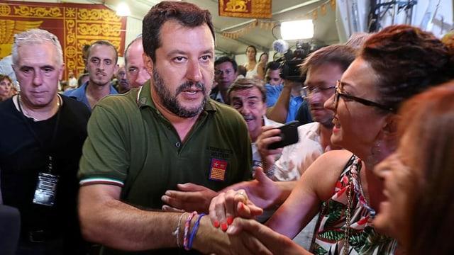 Ex-Innenminister und Lega-Chef Matteo Salvini am 30. August bei Anhängern in Conselve im Veneto.