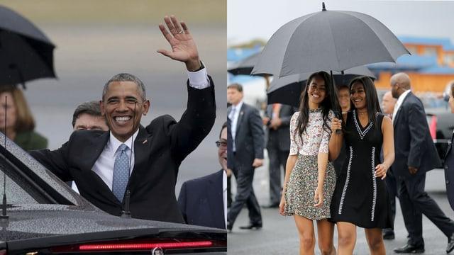 Barack Obama winkt. Malia und Natasha lachen und laufen unter einem Regenschirm.