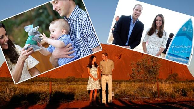 Bildcollage von drei Fotos von William, Kate und George in Australien.