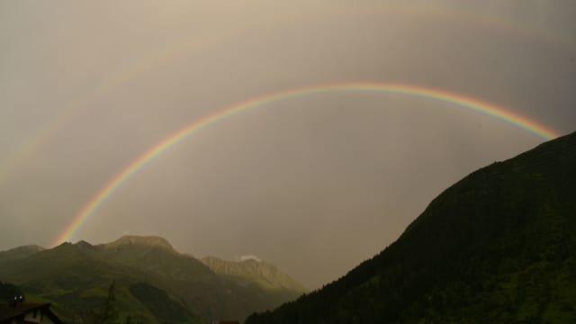 Regenbogen über dem wolkenverhangenen Andermatt