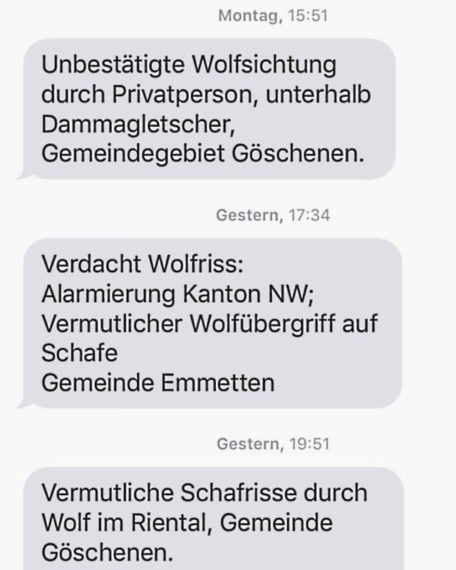 Wolfsalarm per SMS.