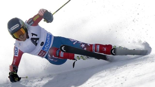 L'American Ted Ligety durant l'emprim percurs dal slalom gigant dals umens a Sölden.