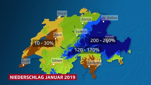Auf der Schweizkarte sympolisieren Farbflächen die Regionen mit  viel, mittel und wenig Niederschlag.