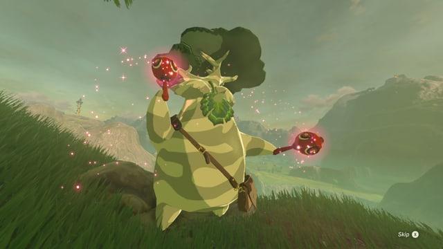 Ein Waldgnom tanzt.