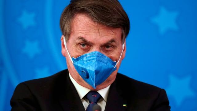 Jair Bolsonaro mit Schutzmaske