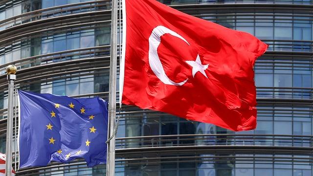 Türkische und EU-Flagge vor einem Hotel in Istanbul.