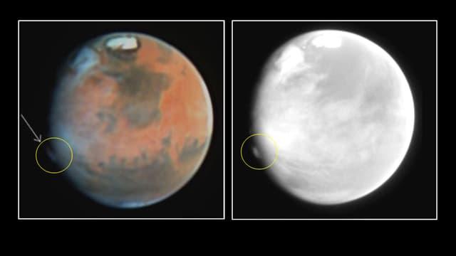 Zwei Bilder vom Mars.