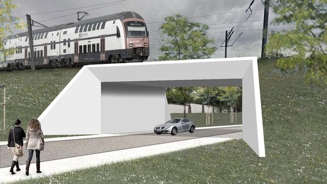 Visualiserung der SBB-Unterführung in Goldach.