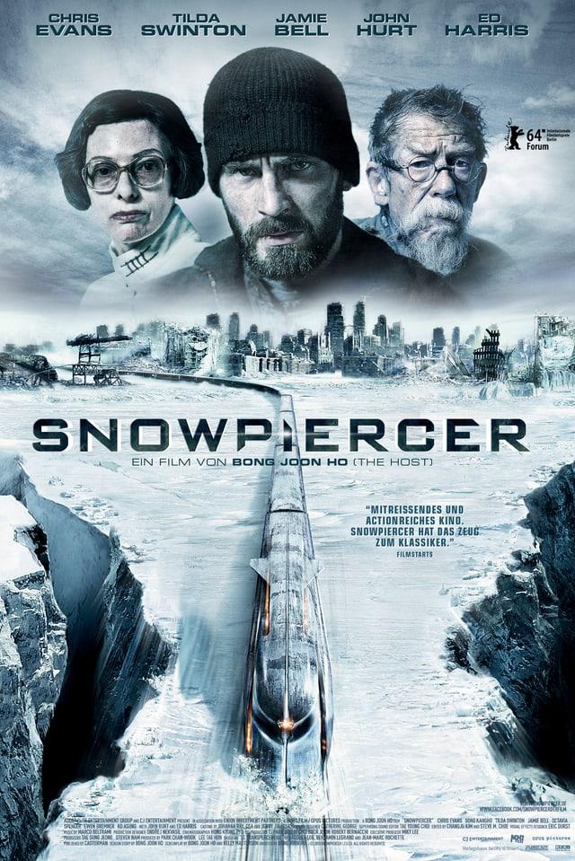 Poster: Oben die Köpfe der Hauptdarsteller, unten eine Ausicht auf einen Zug, der durch eine Schneelandschaft fährt